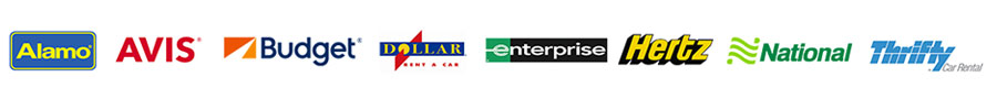 Car rental company logos: Alamo, Avis, Budget, Dollar, Enterprise, Hertz, National, and Thrifty